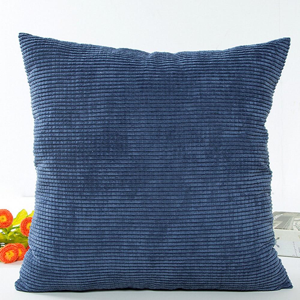 Housse de coussin bleu marine velours côtelé - 45x45cm