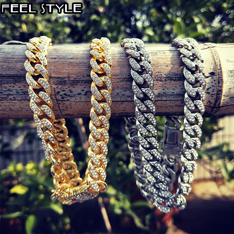 Iced Out Paved Rhinestones 1Set 13MM Silver Color Full Miami Curb Cuban Chain CZ Bling Rapper Necklaces For Men Hip Hop Jewelry
