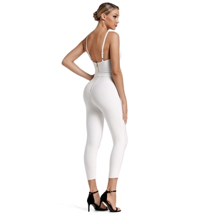 Image 5 - Deer Lady Deer Lady 2019 Bandage Jumpsuit Summer Women Strappy White Bandage Jumpsuit Bodycon One Piece Sexy Jumpsuit Clubwear