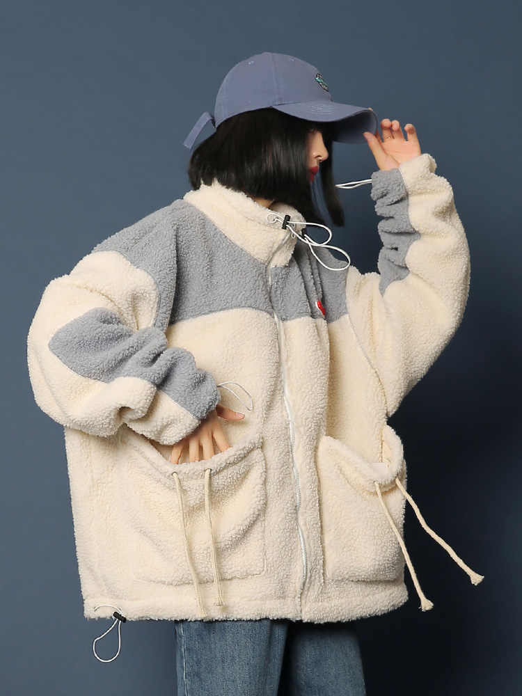 Donne Giacca Invernale Nuovo 2019 Pelliccia di Agnello di Spessore Caldo Del Faux Pelle di Pecora Cappotto Allentato Con Cappuccio Neve Parka