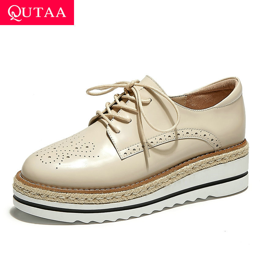 QUTAA 2020 Spring Autumn Round Toe Platform Ladies Shoes Wedges Women Pumps Cow Leather Lace Up Quality Single Shoes Size 34-39