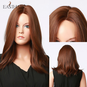 EASIHAIR Wavy Synthetic Hair Wigs for Women Hairline Part Lace Wigs Medium Length Brown Heat Resistant Natural Hair Wig
