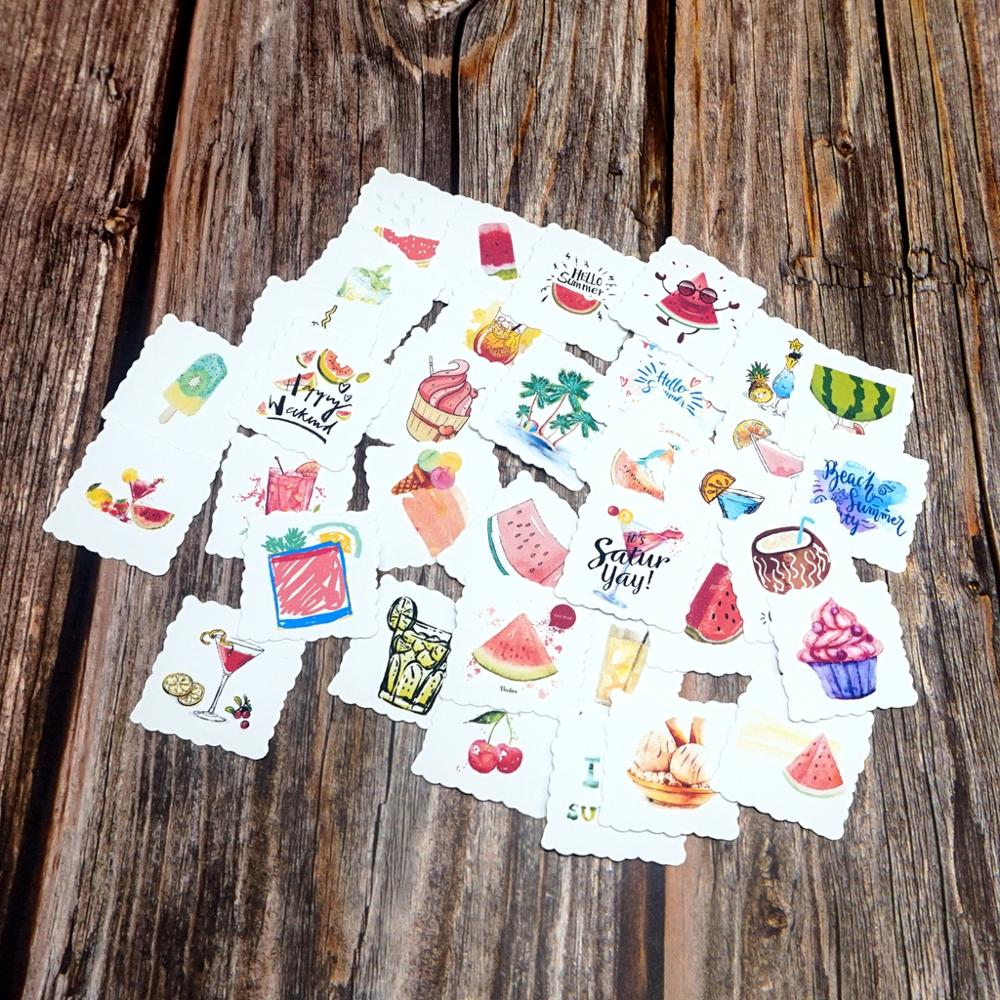 35pcs Summer Time Fruit Waterproof Stickers DIY Adhesive Decorative Scrapbooking Diary Album Sticker Kids Students Gift Stickers
