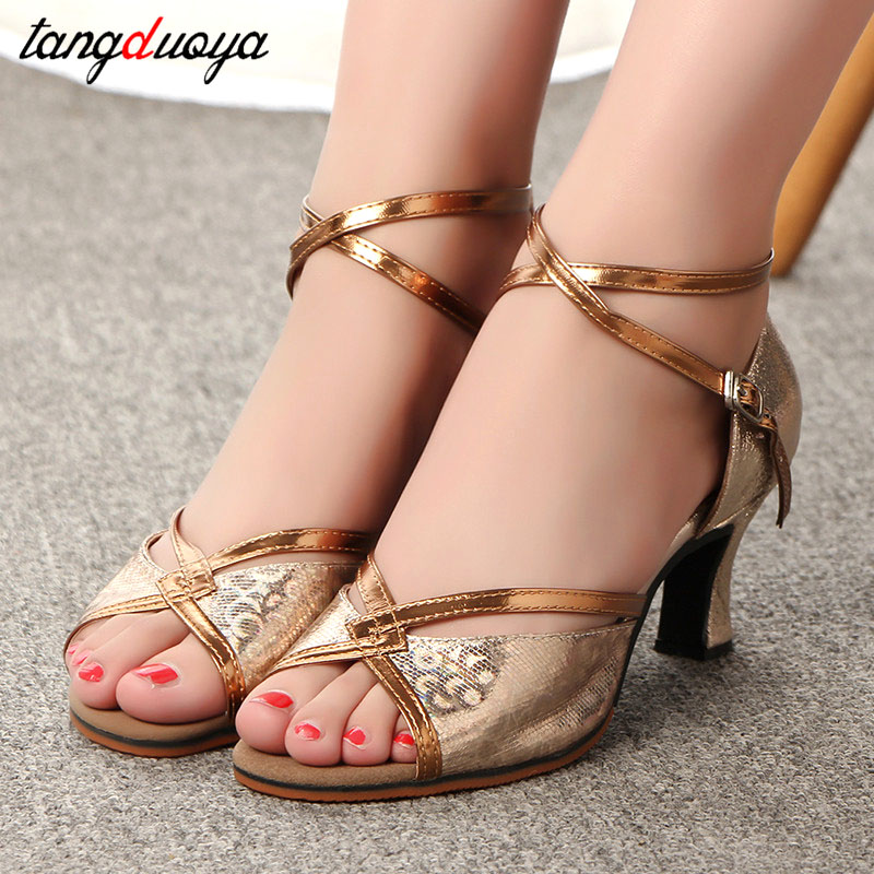 Dames Schoen Women Dance Shoes Ballroom Latin Dance Shoes Women Tango Shoes Peep Toe High Heels 5 5cm Gold Silver Wedding Shoes Mega Deal 2d0f Cicig