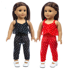цена Fit 18 inch 43cm Baby New Born American Doll Girl Clothes Red Black Chiffon Suit For Baby Birthday Gift онлайн в 2017 году