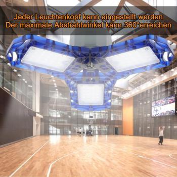 Luz LED plegable de 3 colores, luz de techo Deformable para garaje, almacén, taller, 40W 60W, lámpara de deformación de bombillas de tres hojas
