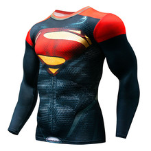 2019 Hot Sale Fitness MMA Compression Shirt Men Anime Bodybuilding Long Sleeve Workout 3D Superman Punisher T Tops Tees