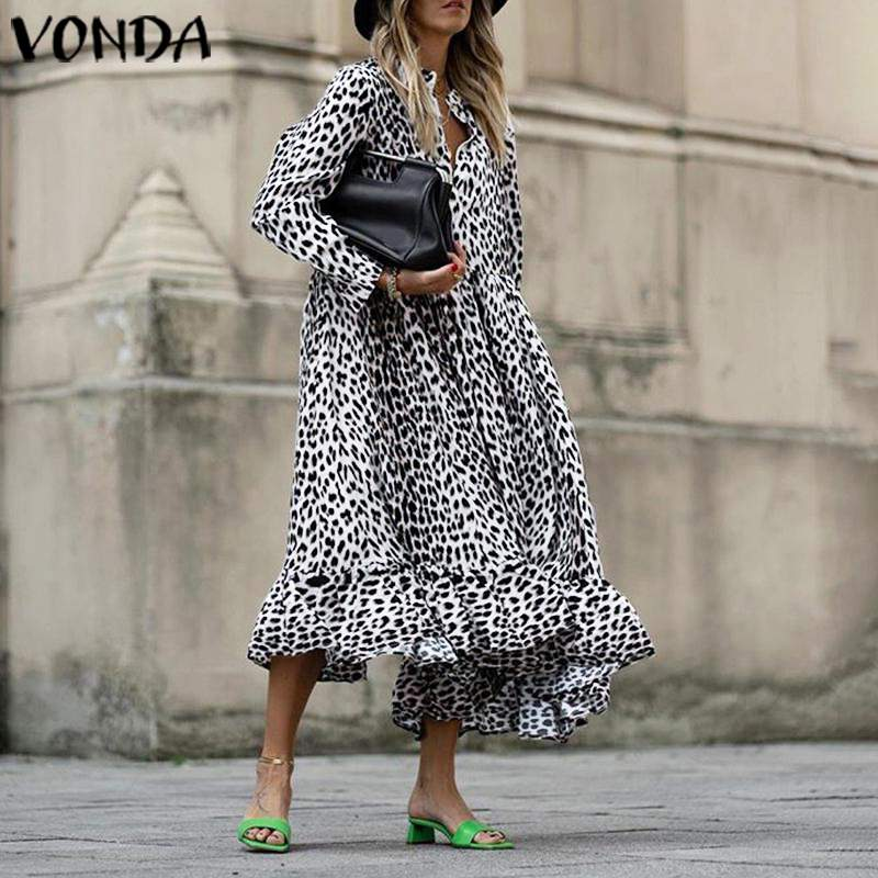 Women Leopard Dress Vintage Long Sleeve Swing Party Long Dress VONDA 2020 Autumn Casual Loose Vestidos Plus Size Sundress S-5XL