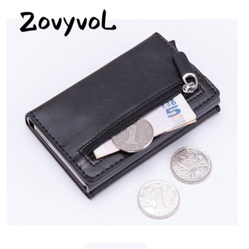 Fashion New Smart Wallet Vintage PU Leather Coin Purses Magnetic Closing Card Holder Casual Money Bag RFID Blocking Card Wallet