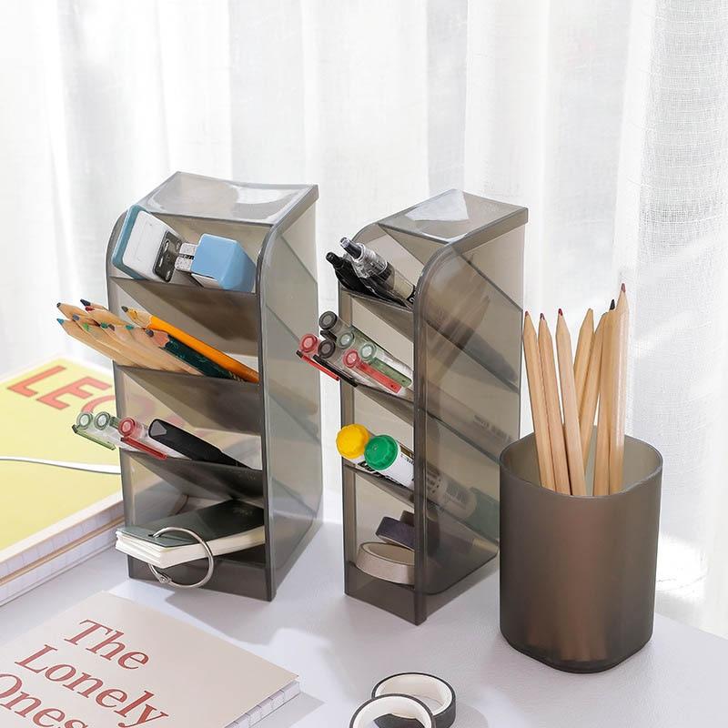 Desk-Supplies Storage-Box Cosmetics-Holder Table Pencil Grid Multi-Function Plastic-Material