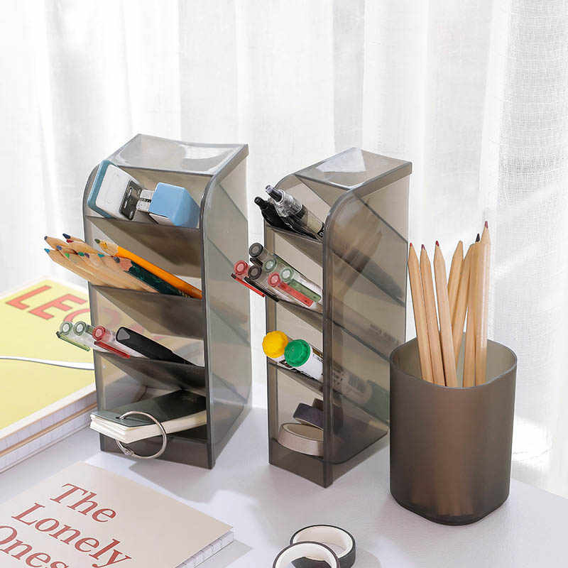4 grid grid table sundries storage multi-function cosmetics holder plastic material pen pencil storage box desk supplies