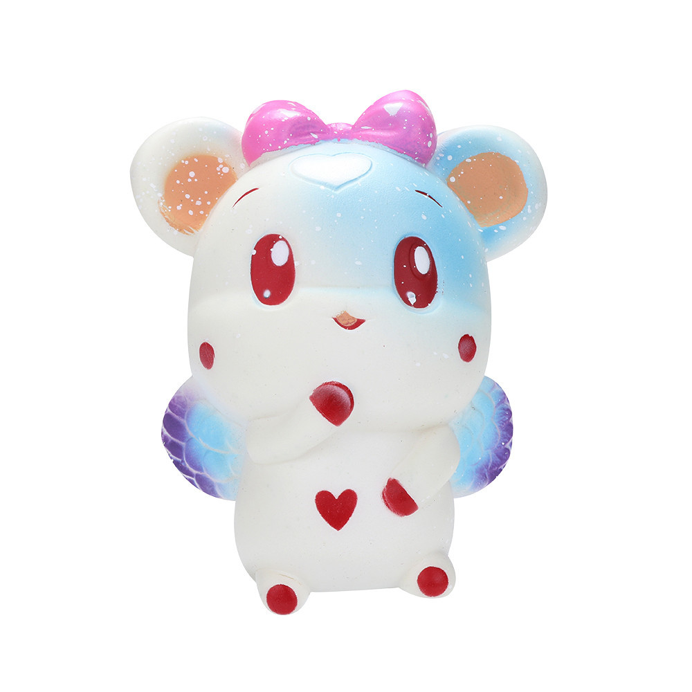 2 Pcs White+Pink Cartoon Animal Slow Rising Squeeze Toy Decoration Doll Stretchy Healing Toys Funny Holiday Gift #C