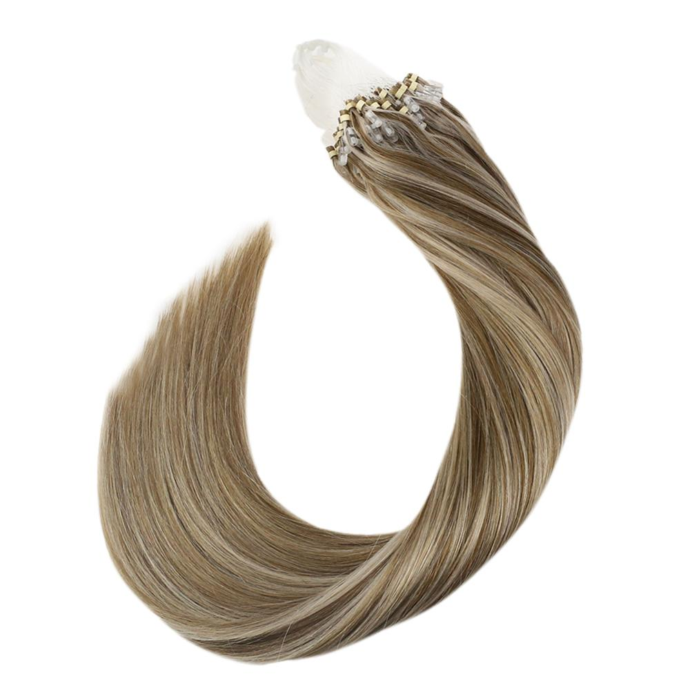 Ugeat Micro Bead Hair Extensions Piano Color 10/613 Michine Remy Straight 14-24inch 1g/strand Micro Ring Hair Extensions