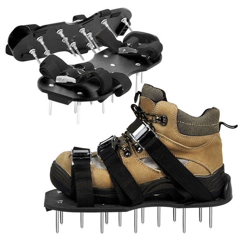 ELEG-Garden Lawn Aerator Shoes Sandal Aerating Spike Grass Pair Green Spiked Tool Loose Soil Shoes Black 30X13CM