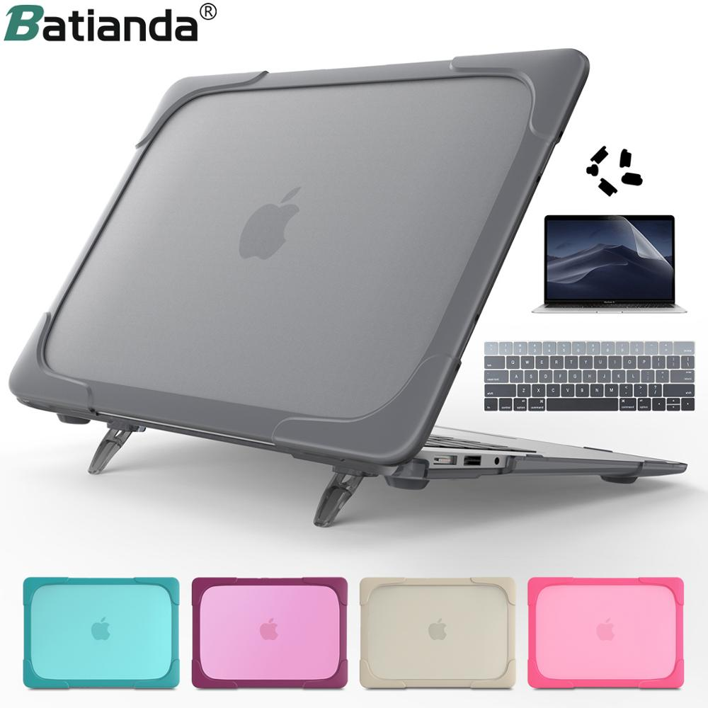 New Shockproof Outer Case For Macbook Air 11 12 13 NewPro 13.3 15 2019 A2159 A1932 Hard Plastic Cover With Foldable Stand