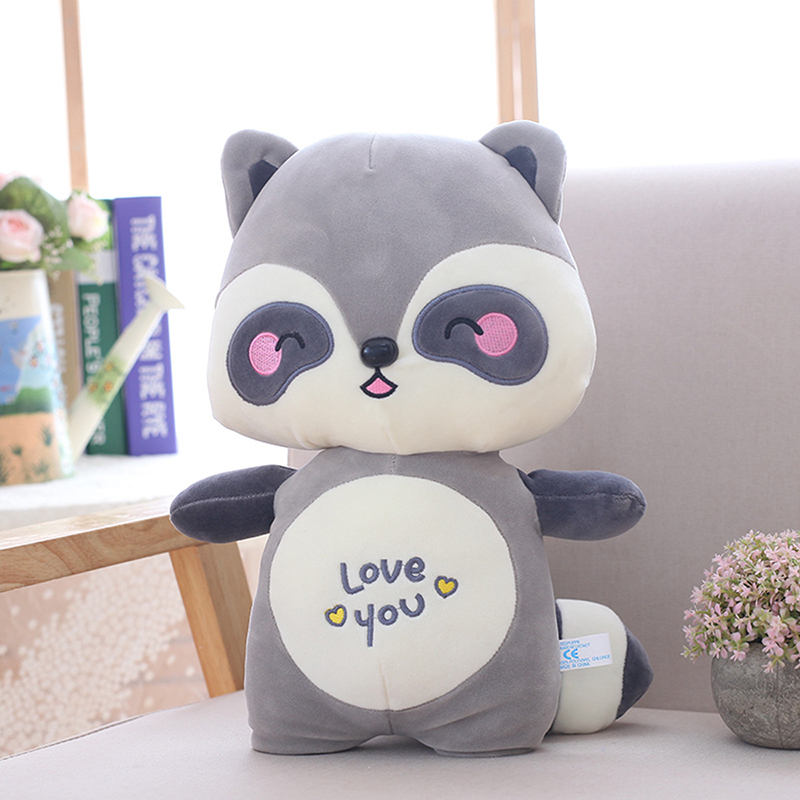1pc stuffed lovely racoon plush dolls super elastic and soft plush Toys high quality home back sushion Xmas kids gifts