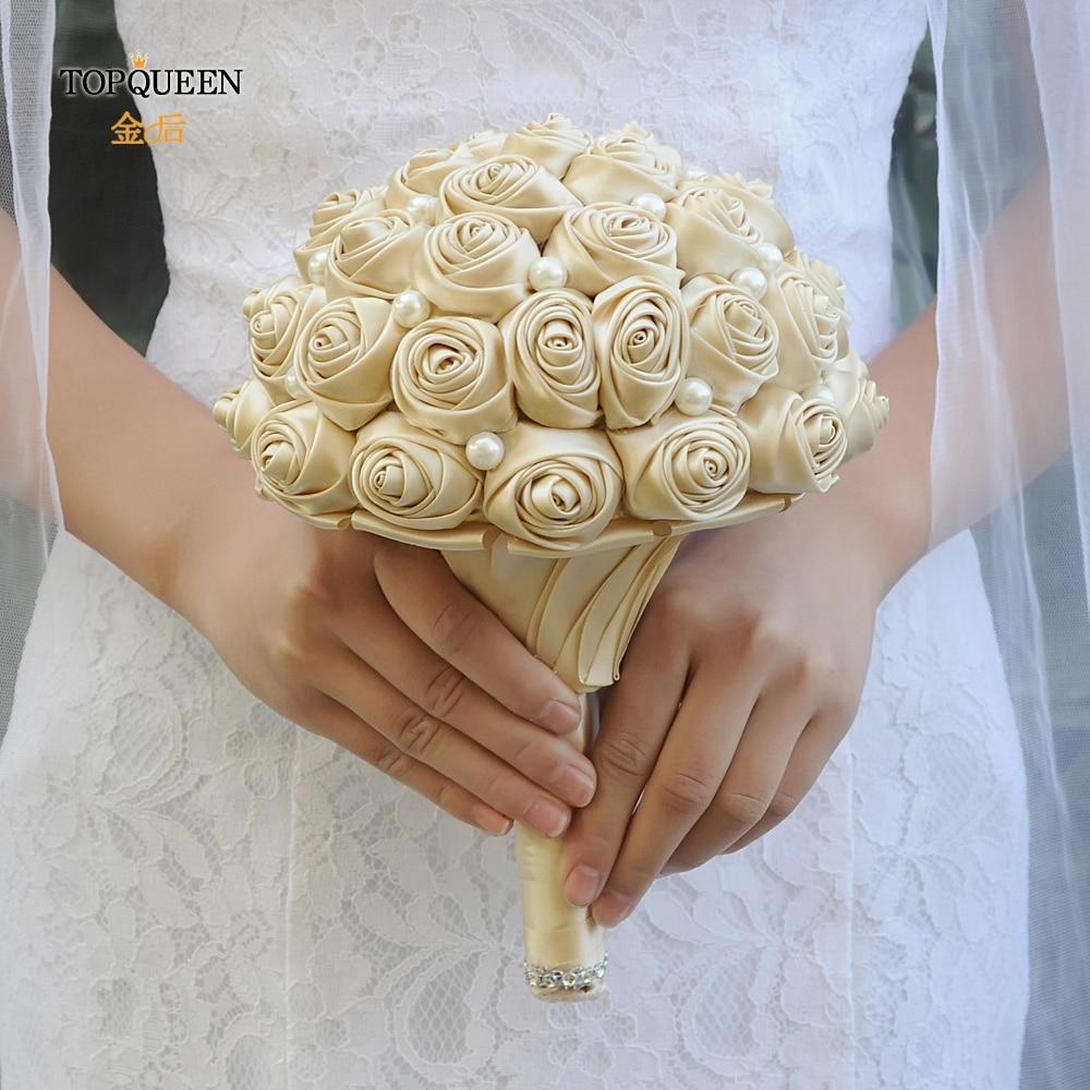 TOPQUEEN Champagne Bouquet for the Bride Bridesmaid Flower Bouquet  Marriage Hand Bouquet Silk Bouquet Wedding Decoration  F3-CP