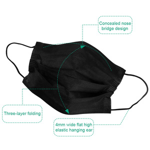 Image 4 - 10/20/50/100Pcs Mouth Mask Disposable Black Cotton Mouth Face Mask Mask Non woven Mask Earloop Activated