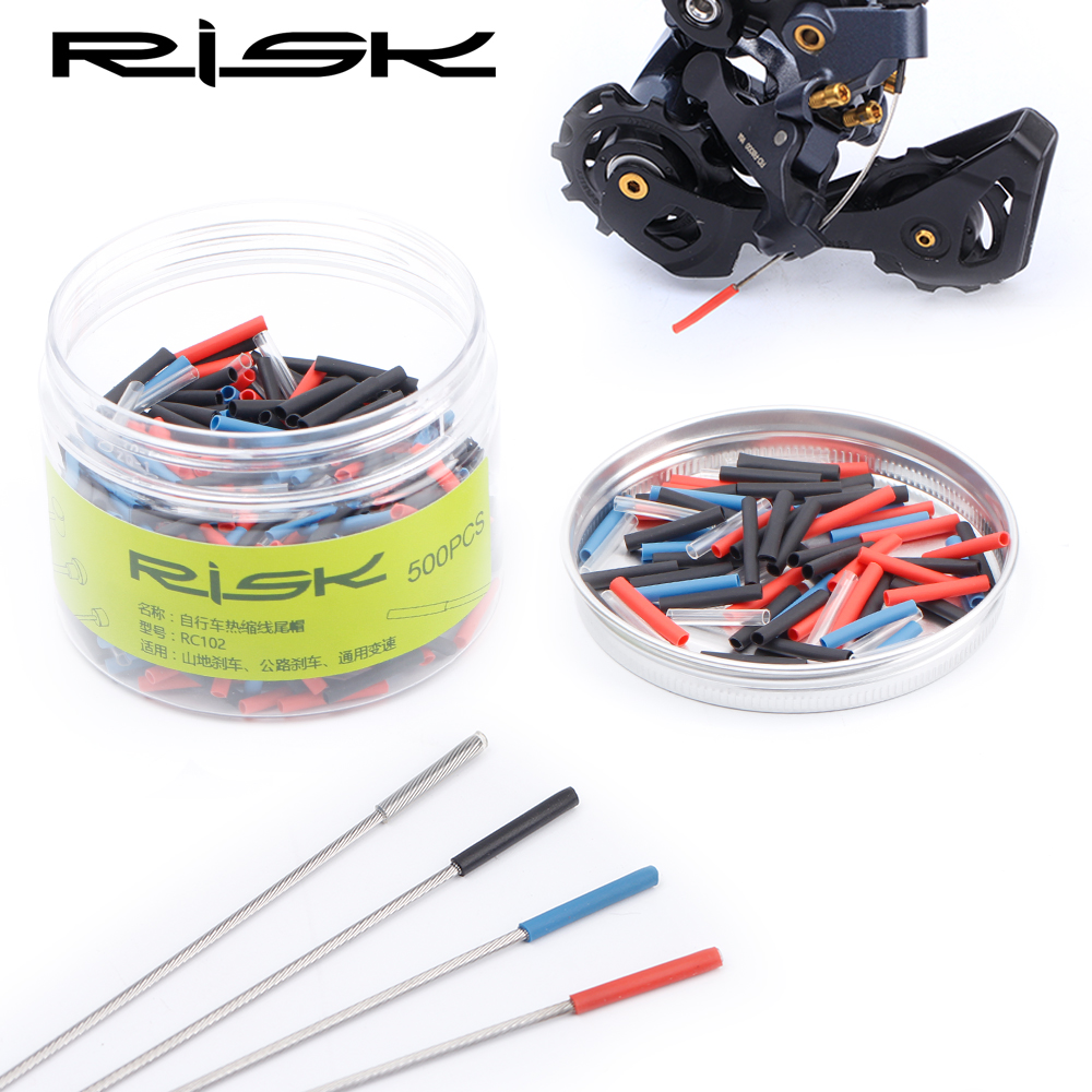 RISK 20pcs Heat Shrink Bicycle Cable End Caps Ultralight Bike Shifter Inner Cable Tips Wire End Cap Brake Cable Tips Crimps