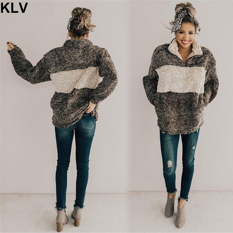 Women Autumn Winter Fleece Sherpa With Pockets Zipper Up Fluffy Long Sleeve Overcoat Outwear Pullover Coat