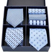 Novel design tie set silk Sky Blue 3type Plaid Dot Paisley men 7.5 cm gift box & handkerchief GL-08