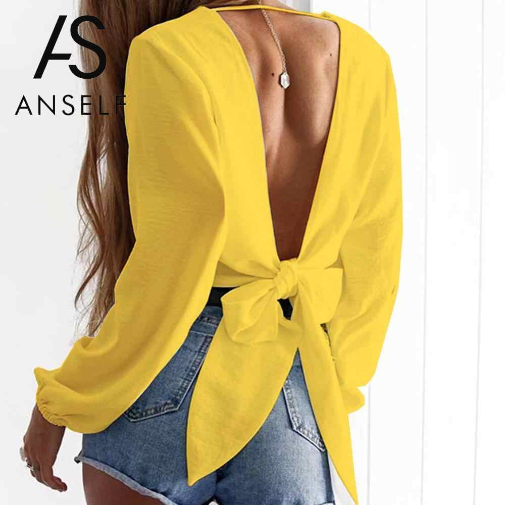 Anself Blusas mujer de moda 2019 Mode Vrouwen Tie-Back Blouse Diepe V Hals Lange Mouw Blouses Sexy Uitsparing shirt Crop Top Geel