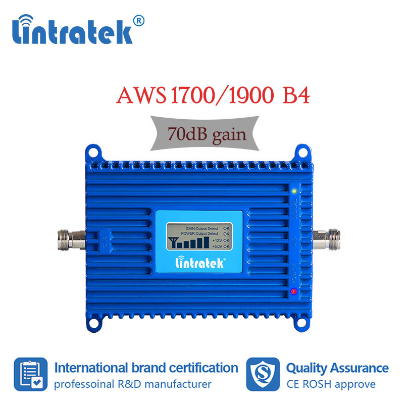 Lintratke AWS 1700/2100mhz UMTS 3G LTE 4G Signal Booster Cellular Mobile Phone Amplifier 1700mhz Internet Voice Repeater 70dB Dj