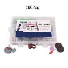Kit de polissage électrique multifonction, 166 pièces, Kit daccessoires doutils rotatifs Dremel pour le ponçage polissage avec du métal