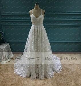 Image 3 - Mryarce Unique Bride Rosa Lace Wedding Dress Boho Chic Cross Back Side Slit Bridal Gowns For Outdoor Wedding