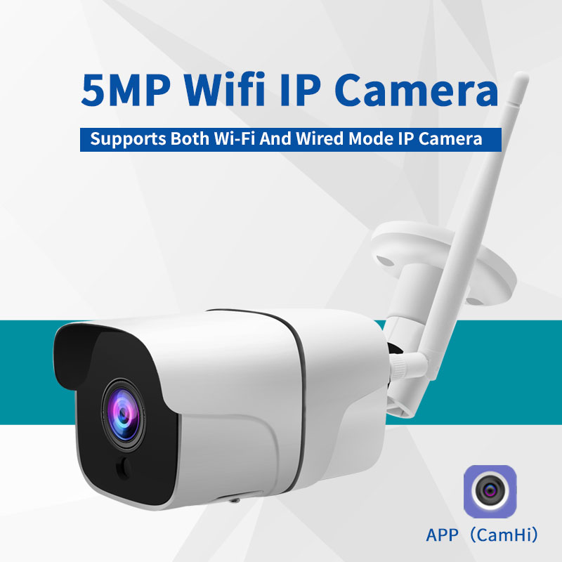 Two-Way Audio 5MP Wifi IP Camera Outdoor Wireless Onvif Full  HD Night Vision CCTV Bullet Security Camera TF Card Slot APP CamHi