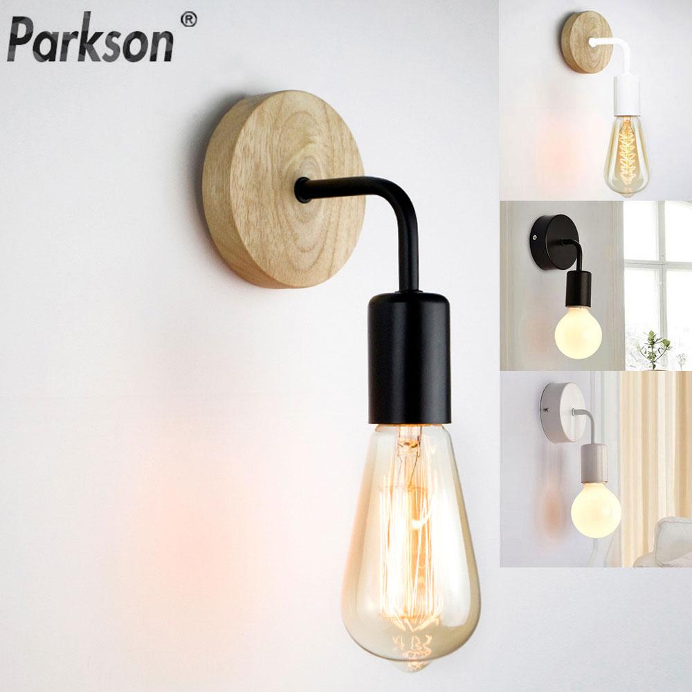 Modern E27 Wall Lamp Vintage Wood Wall Lamp E27 Light Bulb Industrial Wall Light For Home Loft Living Room Indoor Decor Fixtures