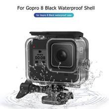 60m מתחת למים עמיד למים מקרה עבור GoPro גיבור 8 מגן מעטפת כיסוי דיור שחור מצלמה עדשת מסנני 60M צלילה בריכת סט