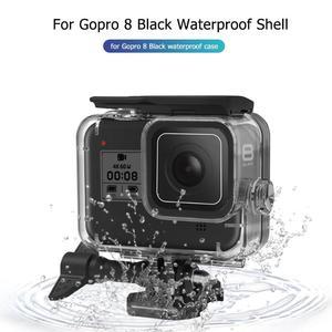 Image 1 - 60m boîtier étanche sous marin pour GoPro Hero 8 coque de protection boîtier noir caméra lentille filtres 60M plongée natation ensemble
