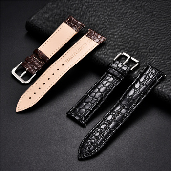Crocodile Skin Design Calfskin Strap Soft Leather Watchbands Replacement Business Straps 16 18 20 22 24mm Casual Watch Band - discount item  50% OFF Watches Accessories