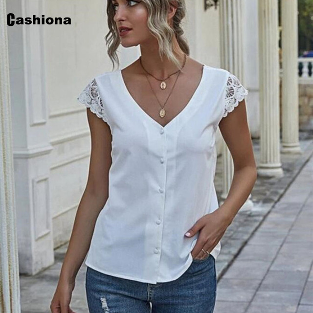 Women Elegant Leisure Chiffon Blouse 2021 Summer New Patchwork Lace Tops Backless V-neck Shirt Feminina Blusas Shirt Ropa Mujer 2