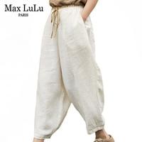 Max LuLu-Pantalones clásicos holgados de lino para mujer, pantalones clásicos con cordón, bombachos blancos, talla grande, estilo japonés, verano, 2021