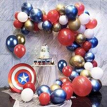 Balões americanos de super heróis 85 peças, kit de balões de látex, vermelho, azul, festa de aniversário, decoração de chá de bebê globos