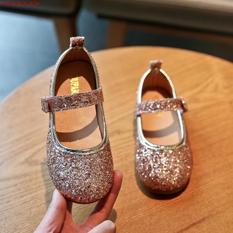 New Spring Fashion Princess Shoes Gold Silver Girls Shoes Glitter Sequins Kids Flats Children Wedding Party Dress Shoes