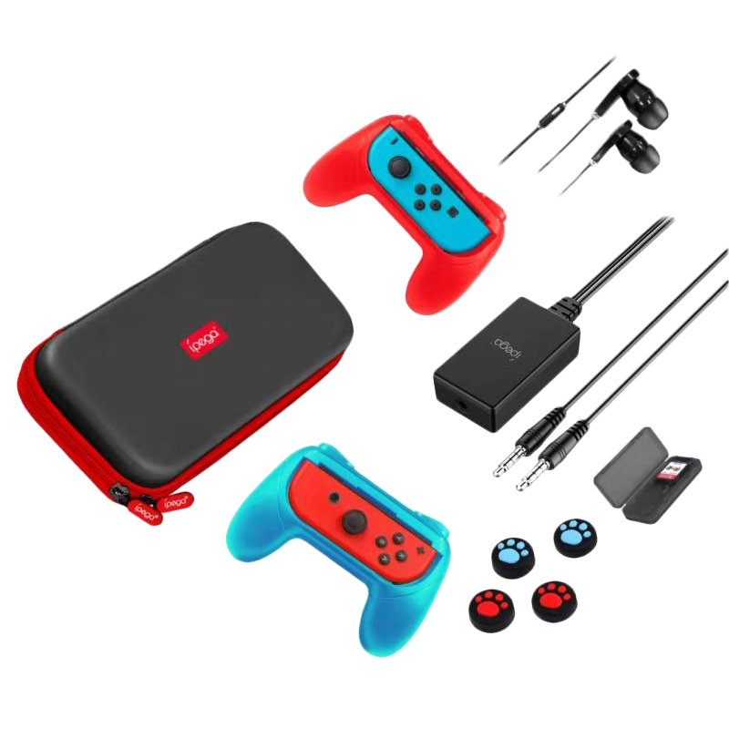 Ipega 18 In 1 Accessory Set For Nintendo Switch Gamepad/Tf Card Case/Thumb Stick Cap/Protect Cover/Earphone/Mic Converter/Storag