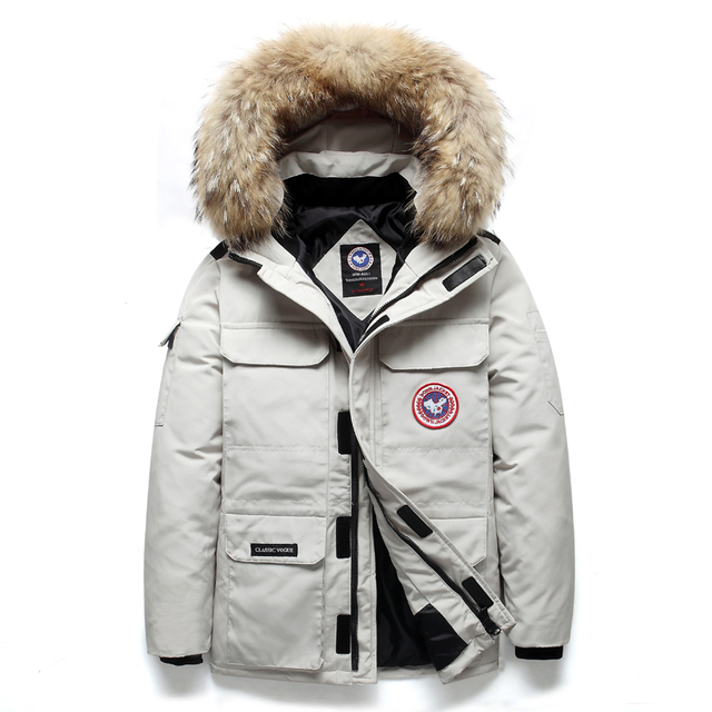 90% doudoune hommes femmes hiver hommes Canada blanc canard vers le bas manteaux mode épais chaud coupe-vent imperméable fourrure vers le bas manteaux hommes