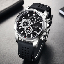 Relógio masculino megir, relógio esportivo e impermeável de silicone com visor grande para homens