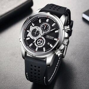 Image 1 - Relogio Masculino MEGIR ใหม่กีฬา Chronograph ซิลิโคนหรูหราควอตซ์นาฬิกานาฬิกากันน้ำขนาดใหญ่ผู้ชาย
