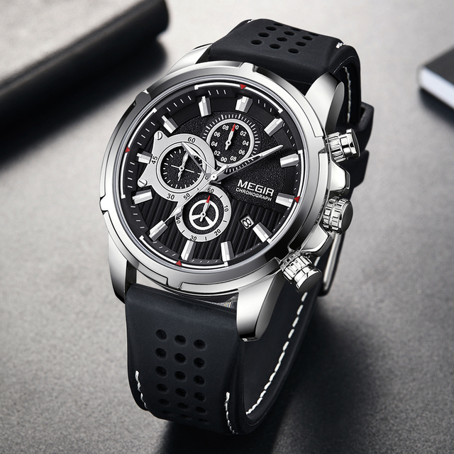 Relogio Masculino MEGIR ใหม่กีฬา Chronograph ซิลิโคนหรูหราควอตซ์นาฬิกานาฬิกากันน้ำขนาดใหญ่ผู้ชาย