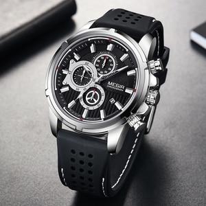 MEGIR-reloj deportivo para hombre, cronógrafo de silicona, de cuarzo, resistente al agua, Masculino