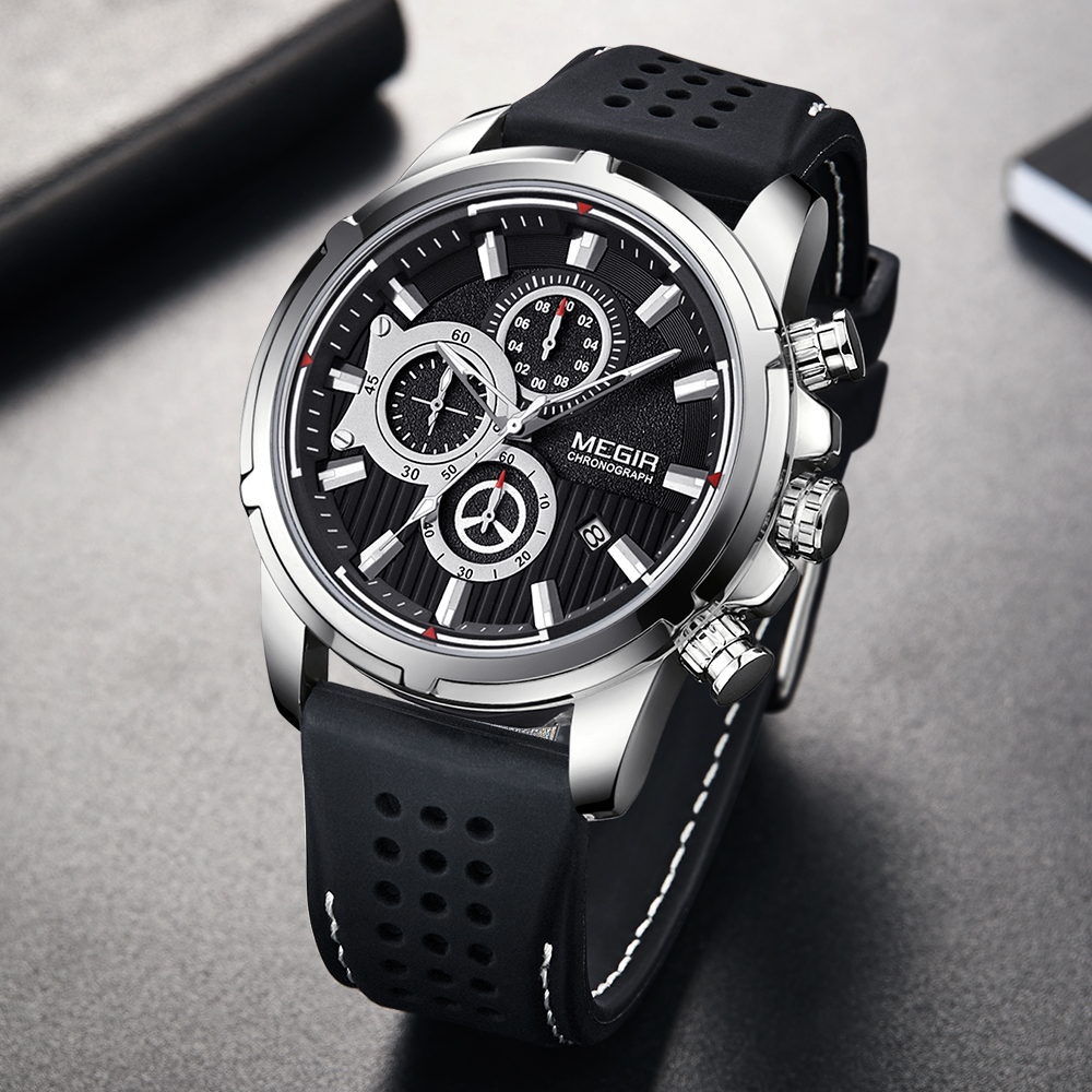 Relogio Masculino <font><b>MEGIR</b></font> New Sport Chronograph Silicone Mens Watches Top Brand Luxury Quartz Clock Waterproof Big Dial Watch Men image