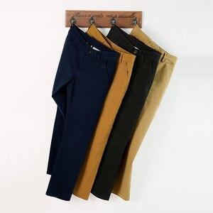 Image 4 - VOMINT Pantalones elásticos informales de algodón para hombre, pantalón largo y recto de alta calidad, 4 colores de talla grande, 42 44 46