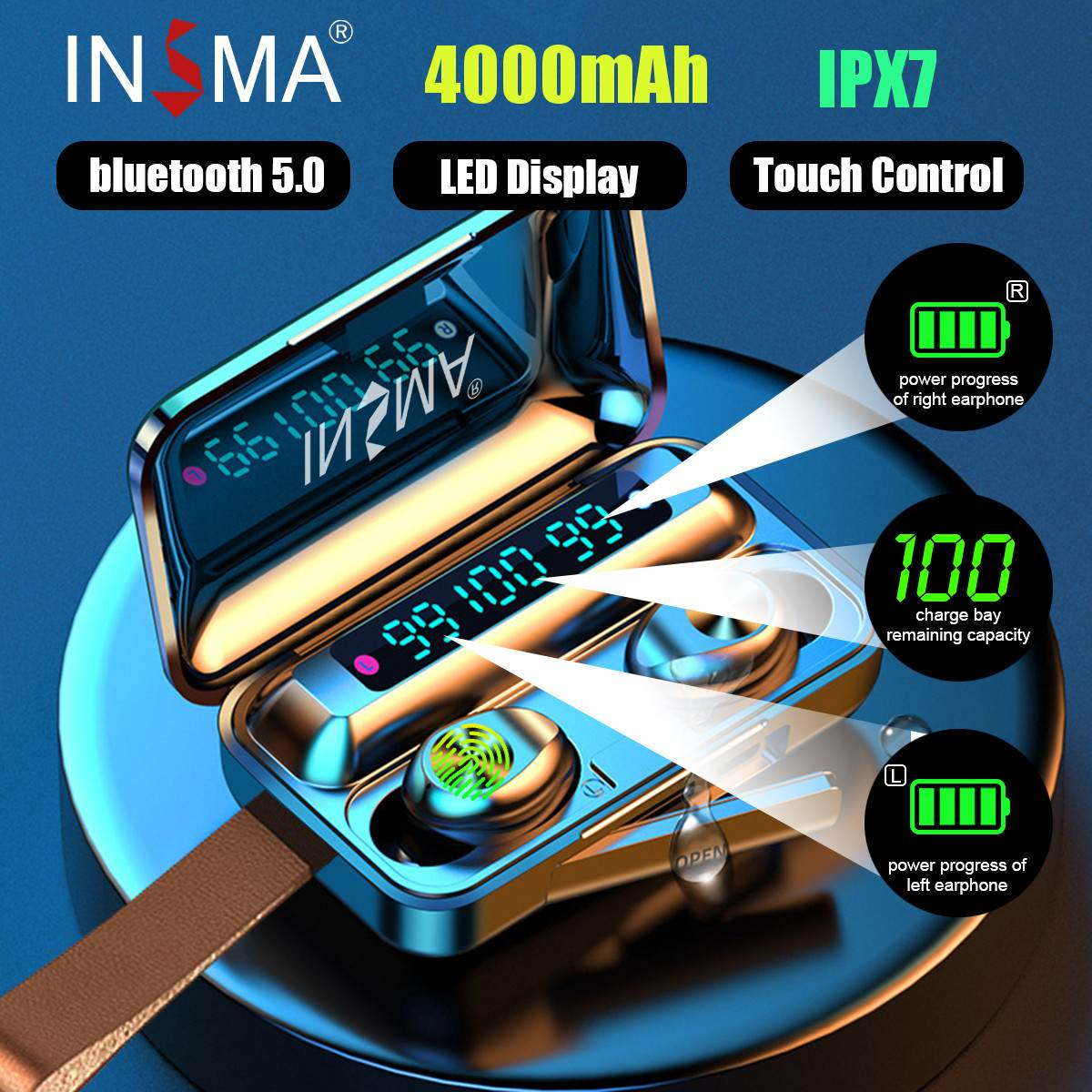 INSMA F9-10 3led 4000mAh Power Bank bluetooth 5 0 TWS Earphones Led Digital Display Wireless Stereo Sport Waterproof Earbuds
