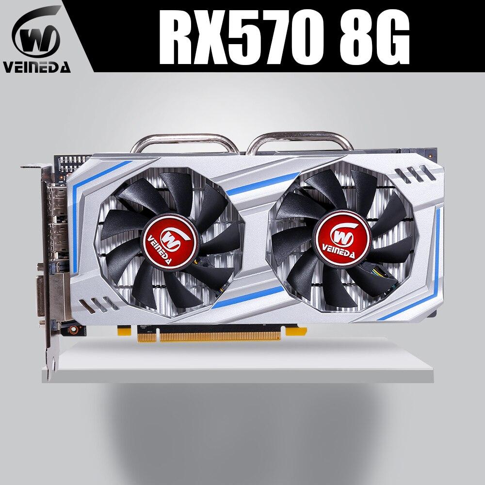 Carte graphique VEINEDA AMD Radeon RX 570 8GB 256Bit GDDR5 1244/7000MHz carte vidéo pour jeux nVIDIA Geforce