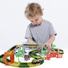 Jurassic World Dinosaur Rail Car 240PCS DIY Assembled Building Blocks Electric Track Racing Toys Childrens