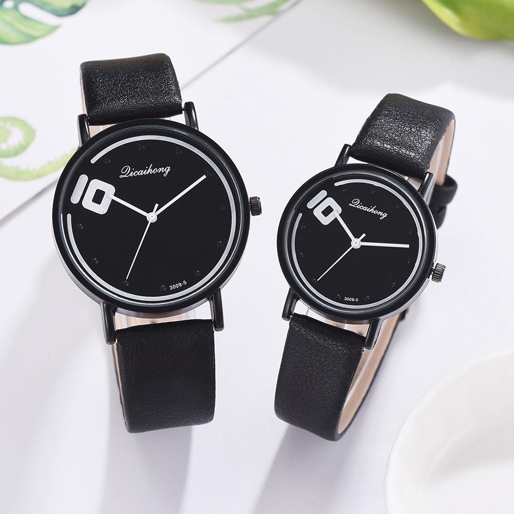Men Women Watches Couple Simple Analog Round Dial Watch Women Faux Leather Band Quartz Watch Men Clock Cift Relogio Feminino